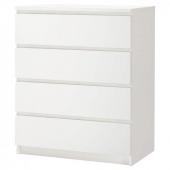 МАЛЬМ Комод с 4 ящиками, белый, 80x100 см