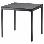 ВАНГСТА Раздвижной стол, черный, темно-коричневый, 80/120x70 см