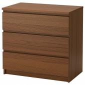 МАЛЬМ Комод с 3 ящиками, коричневая морилка ясеневый шпон, 80x78 см