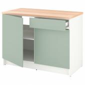 КНОКСХУЛЬТ Напольный шкаф с дверцами и ящиком, серо-зеленый, 120 см