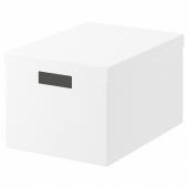 ТЬЕНА Коробка с крышкой, белый, 25x35x20 см