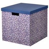 ТЬЕНА Коробка с крышкой, синий/сиреневый, с рисунком, 32x35x32 см