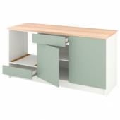 КНОКСХУЛЬТ Напольный шкаф с дверцами и ящиком, серо-зеленый, 180 см
