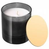 НЬЮТНИНГ Ароматическая свеча в стакане, Цветущий бергамот, серый, 10 см
