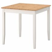 ЛЕРХАМН Стол, светлая морилка антик, белая морилка, 74x74 см