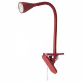 НЭВЛИНГЕ Лампа с зажимом, светодиодная, темно-красный