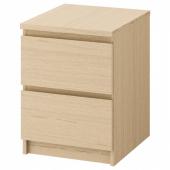 МАЛЬМ Комод с 2 ящиками, дубовый шпон, беленый, 40x55 см