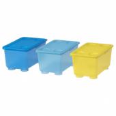 ГЛИС Контейнер с крышкой, желтый, синий, 17x10 см