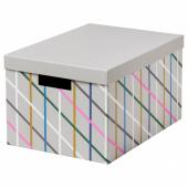 ТЬЕНА Коробка с крышкой, серый разноцветный, бумага, 25x35x20 см