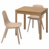 ЭКЕДАЛЕН / ОДГЕР Стол и 2 стула, дуб, белый бежевый, 80/120 см