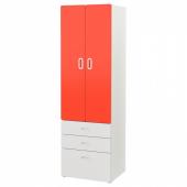СТУВА / ФРИТИДС Шкаф платяной, белый, красный, 60x50x192 см