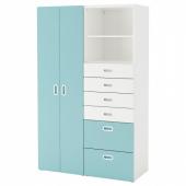 СТУВА / ФРИТИДС Шкаф платяной, белый, голубой, 120x50x192 см