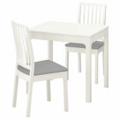 ЭКЕДАЛЕН / ЭКЕДАЛЕН Стол и 2 стула, белый, Рамна Оррста светло-серый, 80/120 см