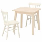 НОРРОКЕР / НОРРАРИД Стол и 2 стула, береза, белый, 74x74 см