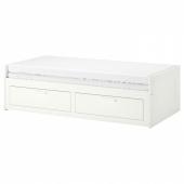 БРИМНЭС Кушетка с 2 матрасами/2 ящиками, белый, Хусвика жесткий, 80x200 см