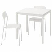 МЕЛЬТОРП / АДДЕ Стол и 2 стула, белый, 75 см