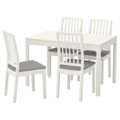 ЭКЕДАЛЕН / ЭКЕДАЛЕН Стол и 4 стула, белый, Рамна Оррста светло-серый, 120/180 см