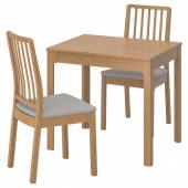 ЭКЕДАЛЕН / ЭКЕДАЛЕН Стол и 2 стула, дуб, Рамна Оррста светло-серый, 80/120 см