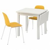 НОРДВИКЕН / ЛЕЙФ-АРНЕ Стол и 2 стула, белый, Брур-Инге темно-желтый, 74/104x74 см