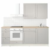 КНОКСХУЛЬТ Кухня, серый, 220x61x220 см