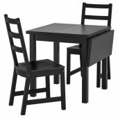 НОРДВИКЕН / НОРДВИКЕН Стол и 2 стула, черный, черный, 74/104x74 см