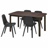 СТРАНДТОРП / ОДГЕР Стол и 4 стула, коричневый, антрацит, 150/205/260x95 см