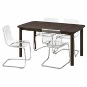 СТРАНДТОРП / ТОБИАС Стол и 4 стула, коричневый, прозрачный, 150/205/260x95 см
