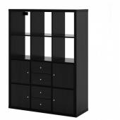 КАЛЛАКС Стеллаж с 6 вставками, черно-коричневый, 112x147 см