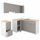КНОКСХУЛЬТ Кухня, серый, 220x180x220 см