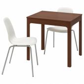 ЭКЕДАЛЕН / ЛЕЙФ-АРНЕ Стол и 2 стула, коричневый, белый, 80/120 см