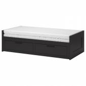БРИМНЭС Кушетка с 2 матрасами/2 ящиками, черный, Малфорс средней жесткости, 80x200 см