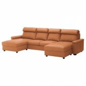 ЛИДГУЛЬТ 4-местный диван, с козеткой, Гранн/Бумстад золотисто-коричневый