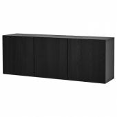 БЕСТО Комбинация настенных шкафов, черно-коричневый, тиммервикен черный, 180x42x64 см