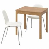 ЭКЕДАЛЕН / ЛЕЙФ-АРНЕ Стол и 2 стула, дуб, белый, 80/120 см